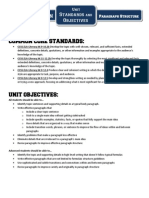 Unit Standards and Objectives - Paragraph Structure