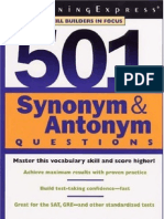 500 Word List of Synonyms and Antonyms