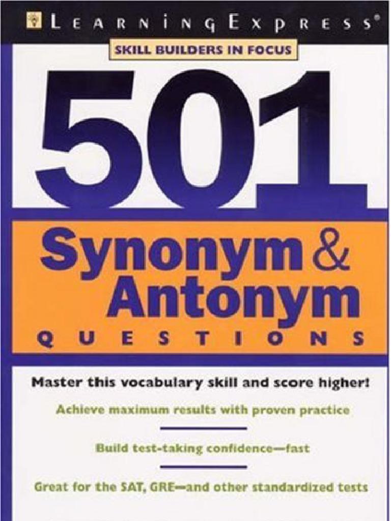 501 Synonyms,Antonyms | Graduate Record Examinations | Test ...
