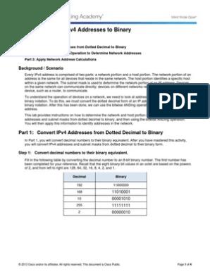 8 1 2 8 Lab - Converting IPv4 Addresses to Binary | Ip