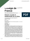 Histoire sociale et intellectuelle de la Chine - Histoire sociale et intellectuelle de la Chine - Collège de France