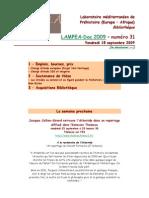 LAMPEA-Doc 2009 – numéro 31 / Vendredi 18 septembre 2009