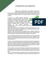 VALOR CALÓRICO DE LOS ALIMENTOS  1
