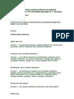 PROYECTO DE LEY PARA LA PROTECCIÓN DE LOS ANIMALES DOMÉSTICOS LIBRES Y EN CAUTIVERIO