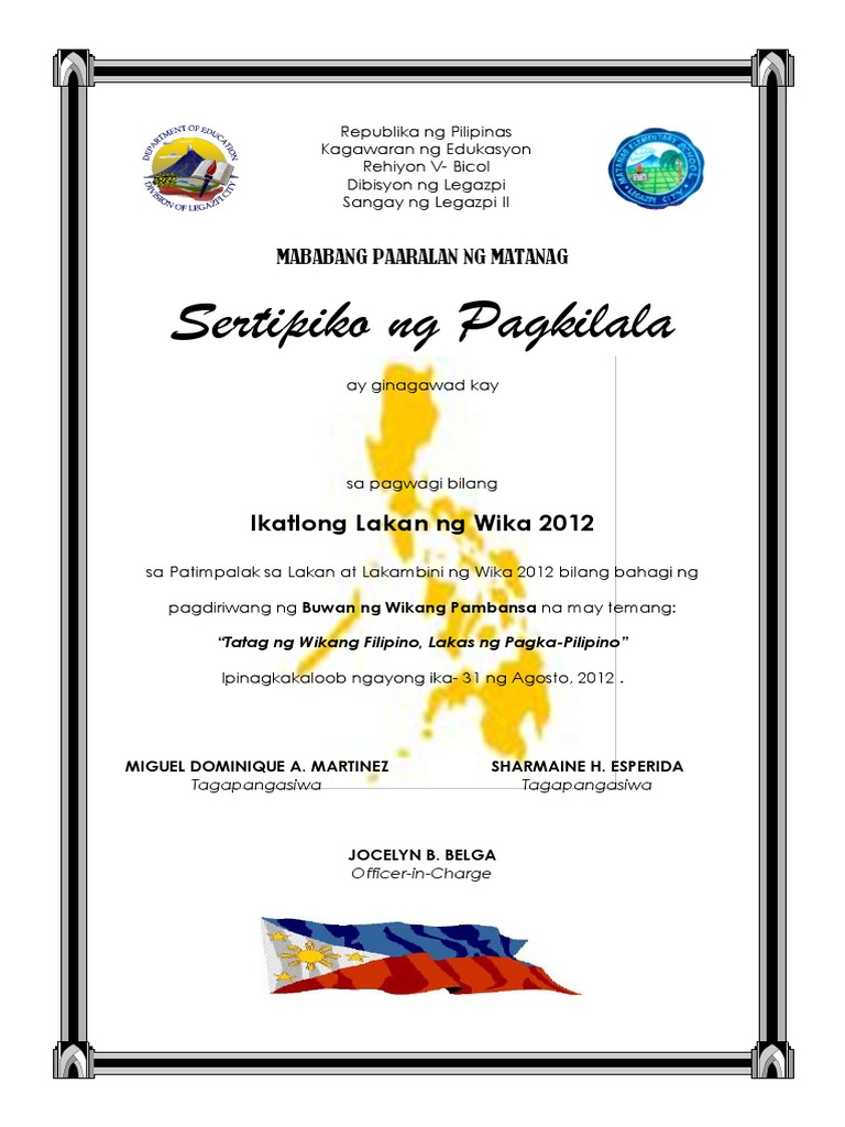 Sample certificate of appreciation tagalog gallery certificate example of certificate of recognition in filipino choice image sample certificate of appreciation in filipino choice yelopaper Choice Image