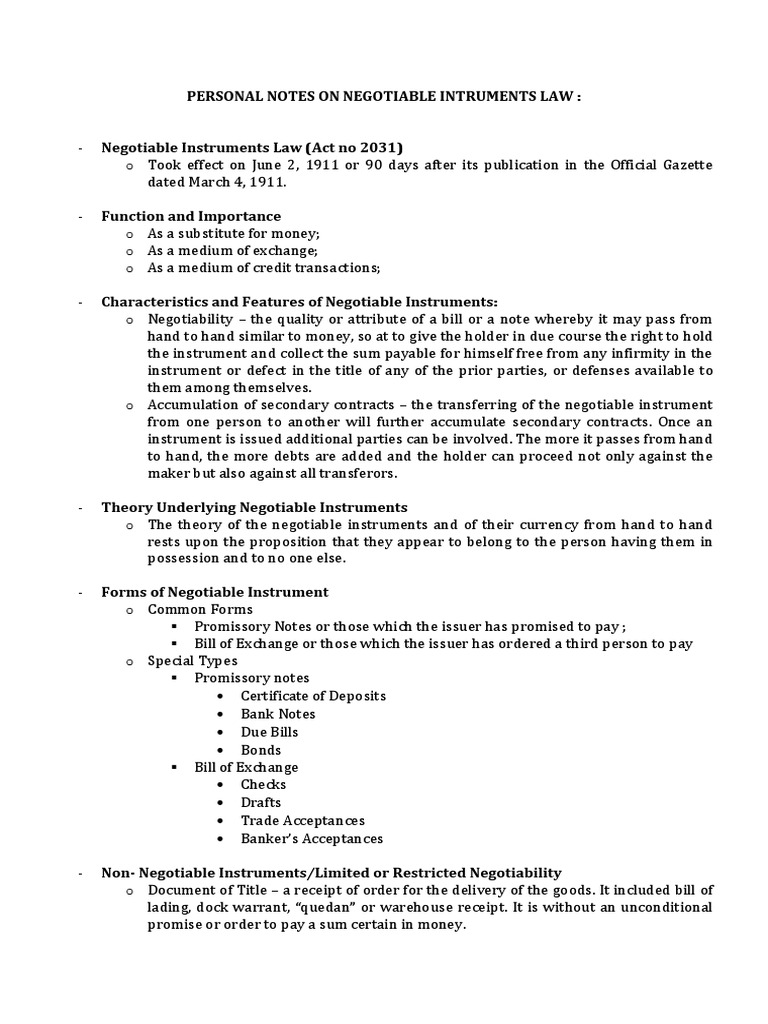Notes On Negotiable Intruments Law Part 1 Negotiable Instrument