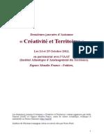 """Compte-rendu des journees d'automne """"Creativite et territoires"""" 24 et 25 octobre 2013 à Poitiers"""