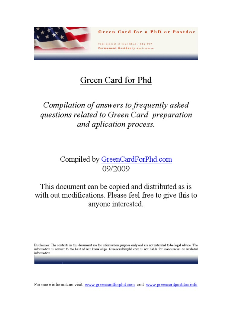 Green Card for Phd   Doctor Of Philosophy