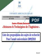 Liste Propositions Sujets2009-2010 CED STI FSTTENSAT