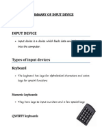 Summary of Input Devices