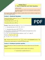 Revision Roots of Quadratics and Cubics