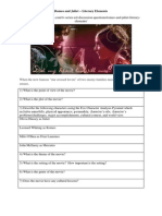 Romeo and Juliet Literary Elements Worksheet