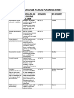 Production Schedule Action Planning Sheet