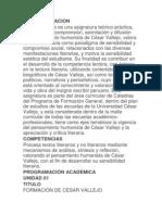 SÍLABO DE CÁTEDRA VALLEJO