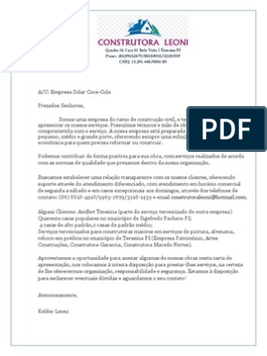 Carta De Apresentação Construtora Leoni