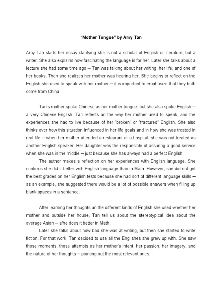 mother tongue by amy tan summary