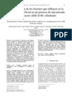 Determinación de los factores que influyen en la rugosidad superficial en un proceso de mecanizado para el acero AISI 4140 cilindrado