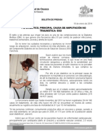 10/01/14 Pie diabético primera causa de amputación no traumatica, SSO