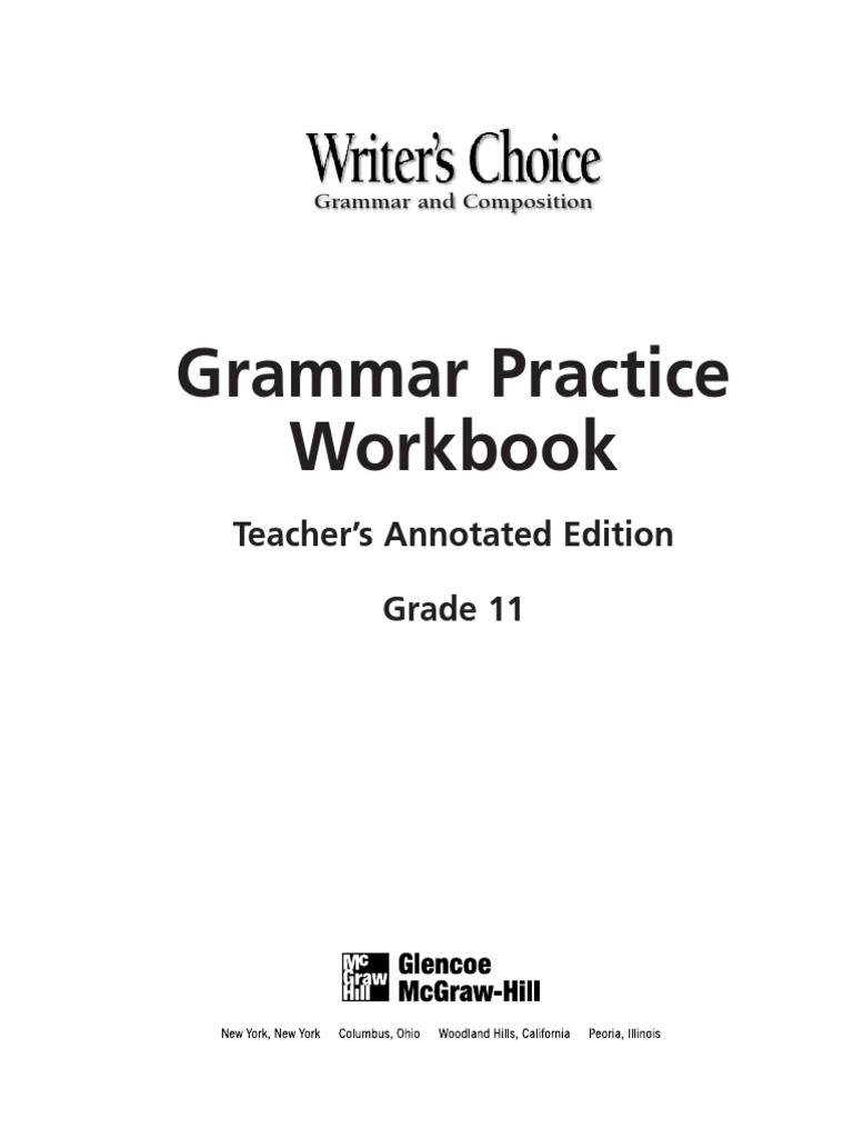 Grammar Practice Workbook Verb Subject Grammar