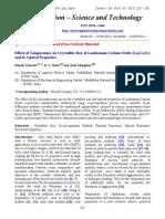 Effect of temperature on crystallite size of Lanthanum Cerium Oxide