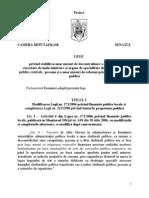 Modificarea Legii nr. 273/2006 privind finanțele publice locale și completarea Legii nr. 213/1998 privind bunurile proprietate publică