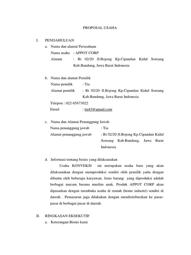 Contoh Proposal Usaha Pakaian Muslimah Pdf Goresan