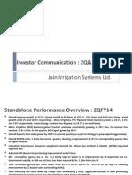 Jain Irrigation Investor Communication 2QFY14 Final PT