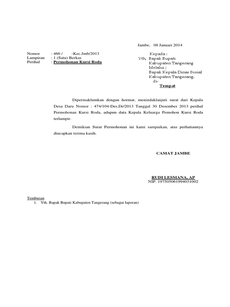 Surat Permohonan Kursi Roda