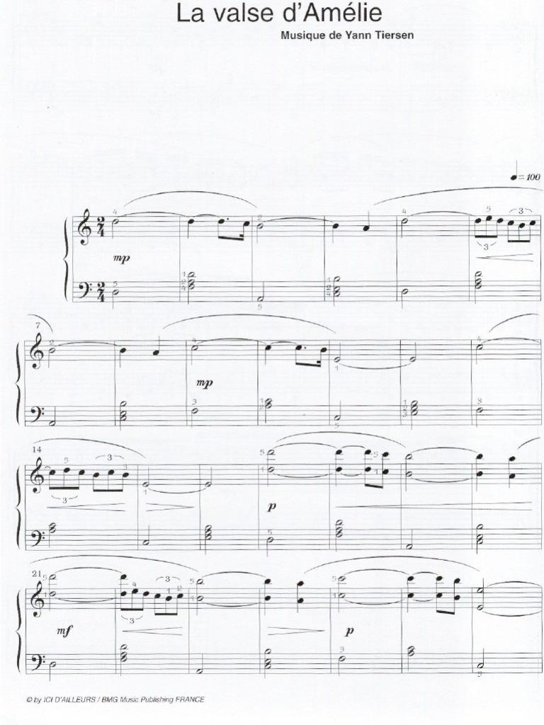 La Valse Damélie Yann Tiersen Sheet Music