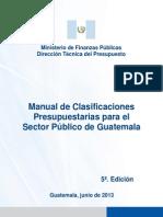 clasificaciones PRESUPUESTARIAS 2013