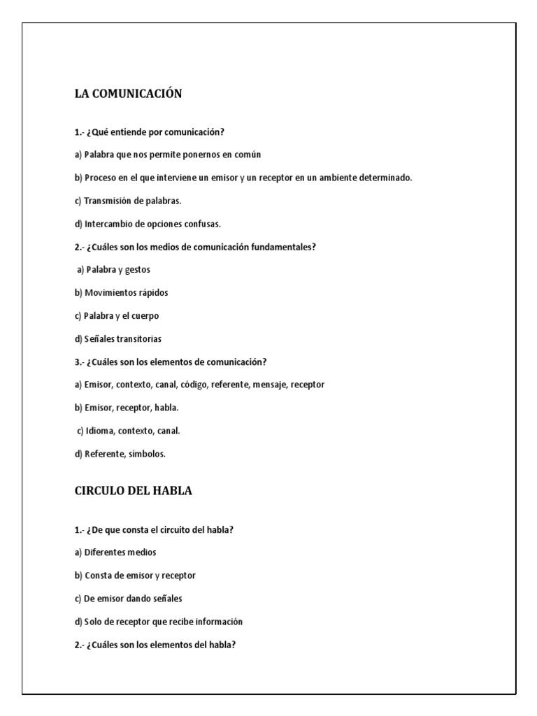 Circuito Del Habla : Reactivos de lenguaje y comunicaciÓn 40