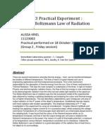 Physics Experiment Report ; The Stefan-Boltzmann Radiation Law (by A Kriel)