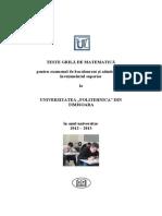 Culegere Admitere Politehnica Bucuresti - Matematica