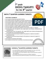 learning targets 4th grade 3rd quarter