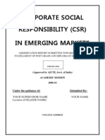 Dissertation Report on Corporate Social Responsibility in Emerging Markets1