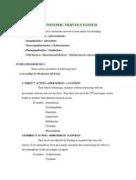 ANS Drug Classification