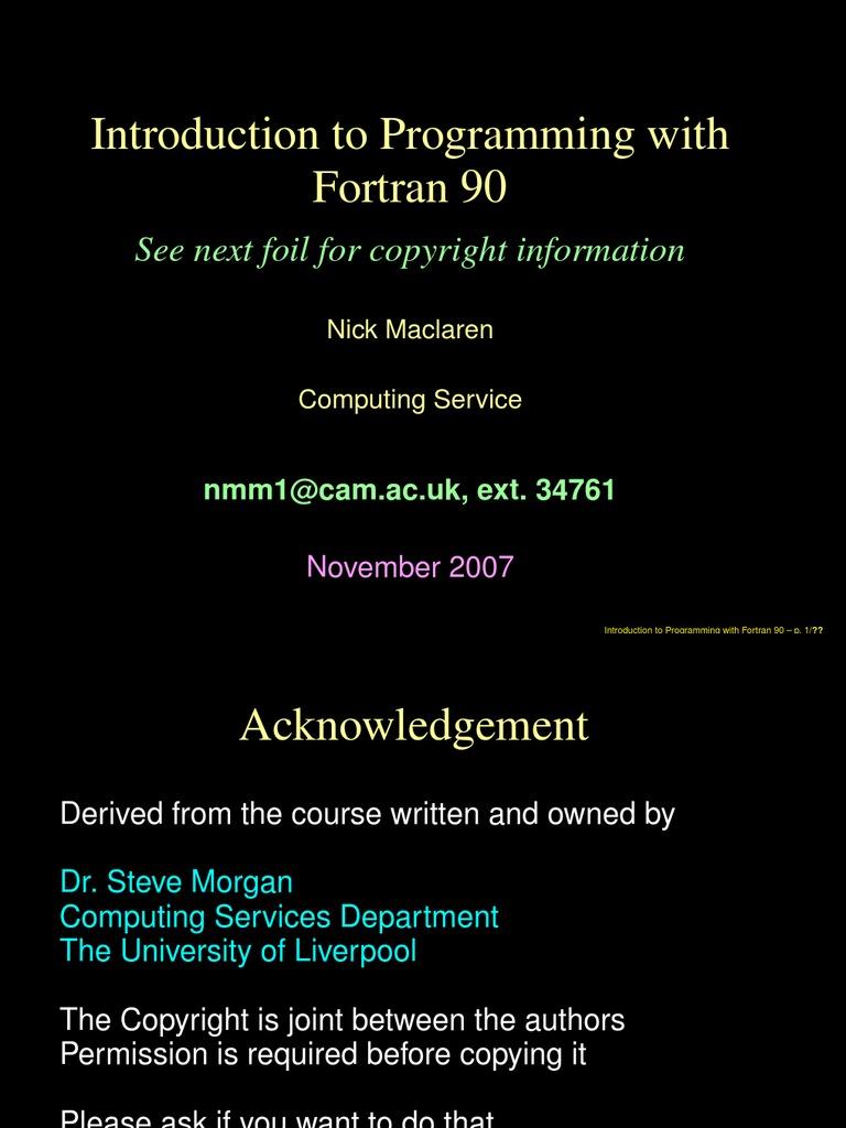 Fortran Learning Cambridge University   Trigonometric