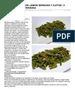 Judias Verdes Con Jamon Serrano y Ajitos 2 Propoints Por Persona