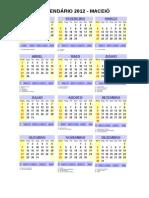 CALENDÁRIO 2012 - MACEIÓ