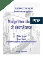 Managementul lichidităţii din sistemul bancar
