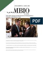 10-01-2014 Diario Matutino Cambio de Puebla - Peña Nieto clausura la XXV Reunión de Embajadores y Cónsules; asiste Moreno Valle