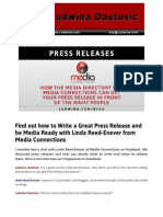 Blog Post Find Out How to Write a Great Press Release and Be Media Ready With Linda Reed Enever From Media Connections