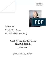 Prof. Dr. Ulrich Hackenberg, Audi Press Conference, North American International Auto Show, Detroit, Jan 13, 2014 - Speech
