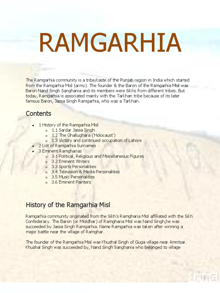 Ramgarhia | Sikh | Punjab