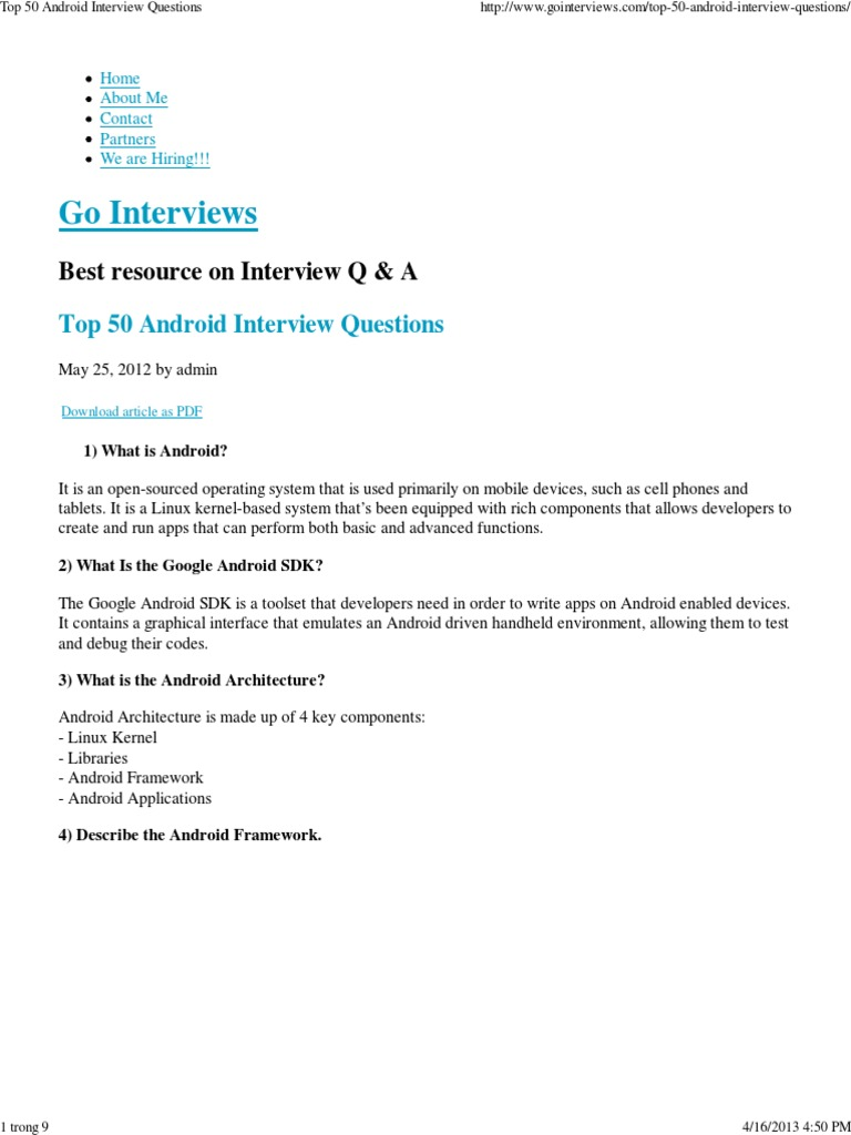 Top 50 Android Interview Questions | Android (Operating