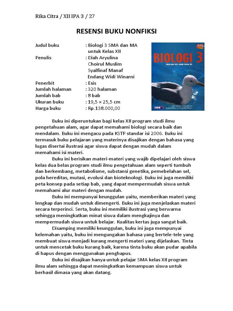 Resensi Buku Nonfiksi Esis Biologi Kelas 3 Sma