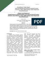 Pendaftaran Tanah Ulayat Tinjauan Yuridis Atas Berlakunya Peraturan Daerah Provinsi Sumatera Barat Nomor 6 Tahun 2008 Tentang Tanah Ulayat Dan Pemanfaatannya