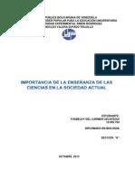 IMPORTANCIA DE LA ENSEÑANZA DE LAS CIENCIAS EN LA SOCIEDAD ACTUAL