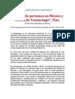 Trata de Personas. El libro rojo de la impunidad en Tenancingo, Tlaxcala, México. 2011-2013