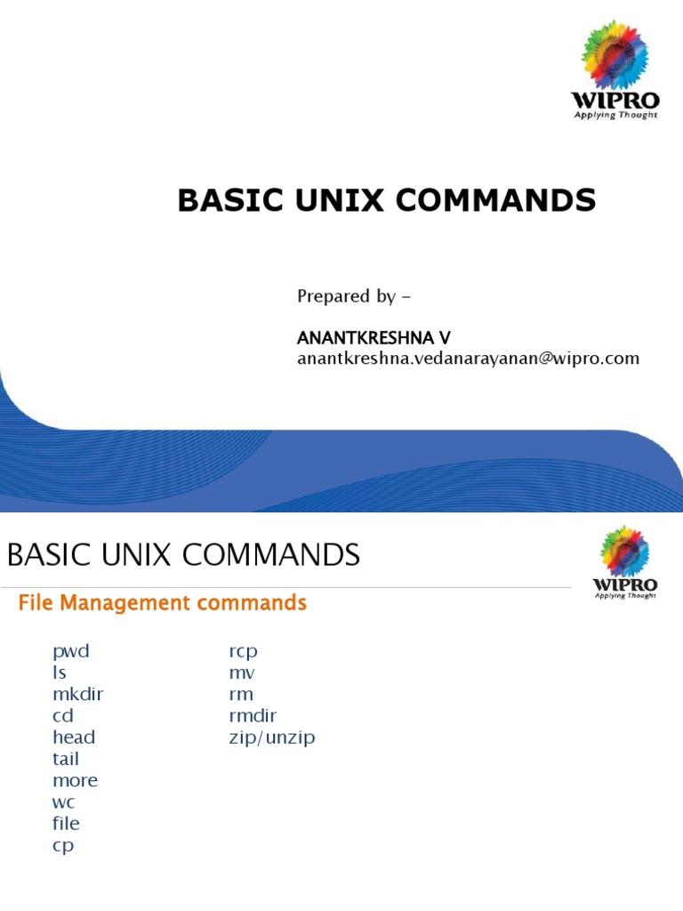 Simple Unix Commands | Filename | Unix
